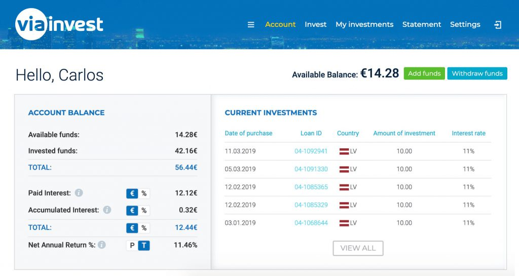 ViaInvest Account @ Savings4Freedom
