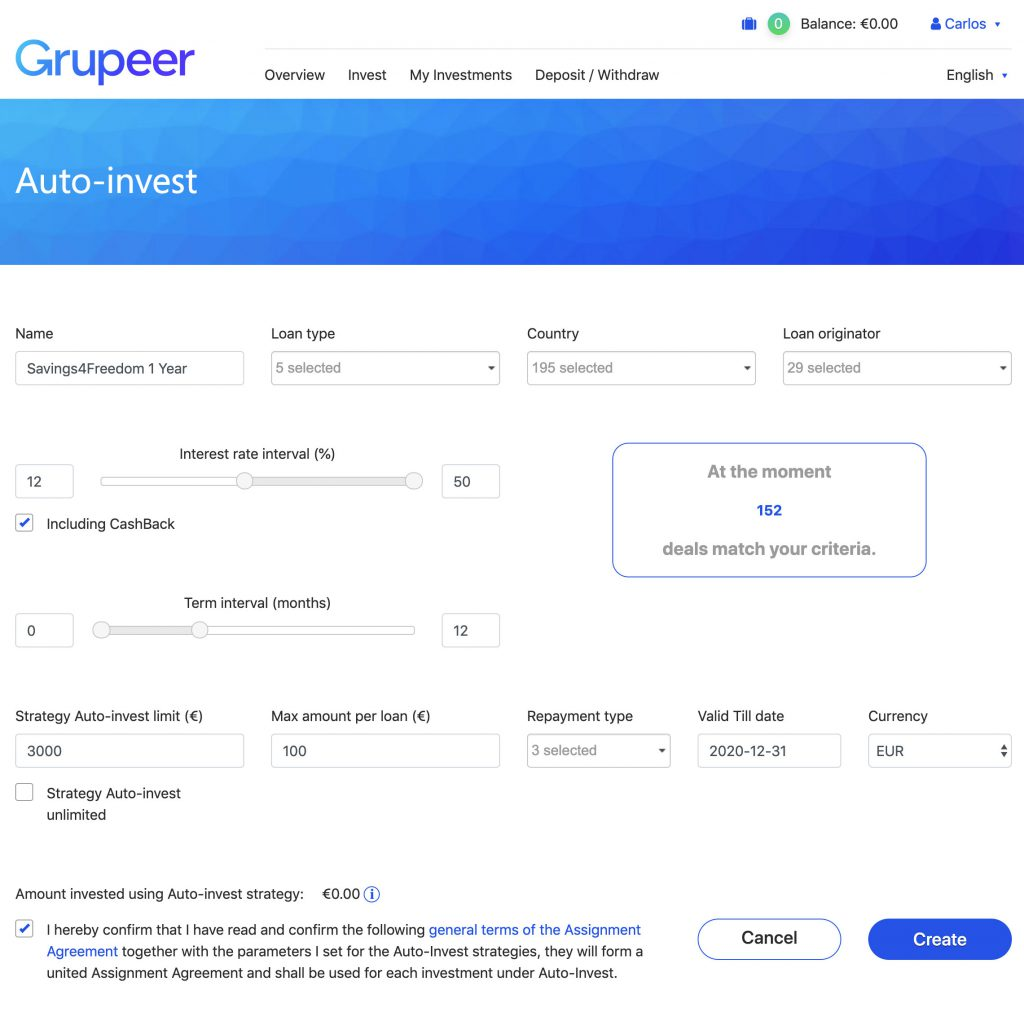 Grupeer Autoinvest Criteria August 2019 @ Savings4Freedom